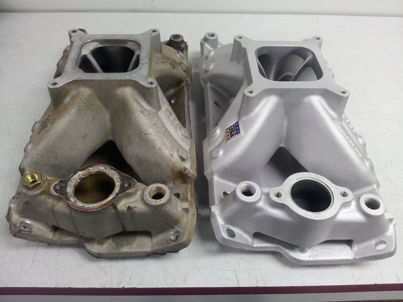 Intake before and after cleaning. Both were used on engines.