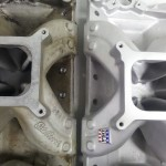 Intake before and after porting. Ported for carb to intake gasket.
